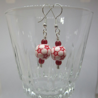 Red and White Football Themed Earrings
