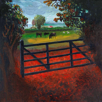 Over The Farm Gate, N.Somerset, Giclee print copy of original art, Home, Decor