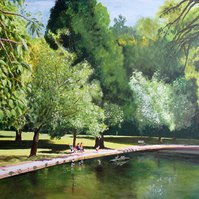 Collet Park Lake, Shepton Mallet, Somerset, Giclee print copy of original art