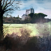 View of St Nicholas Church, Uphill, Giclee print copy of original art, Decor