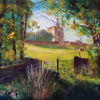Church of St Nicholas, Uphill, N.Somerset, Giclee print copy of original art