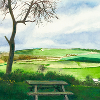 View from Priddy viewing point. The Mendips, Giclee print copy of original art