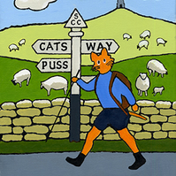 Cat hiker by a sign post, Original painting in acrylic