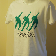 Ladies T shirt with green image of dancing cats