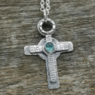 Sterling Silver Cross with Tourmaline