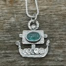 Little Viking Ship Pendant with Apatite and Moonstone