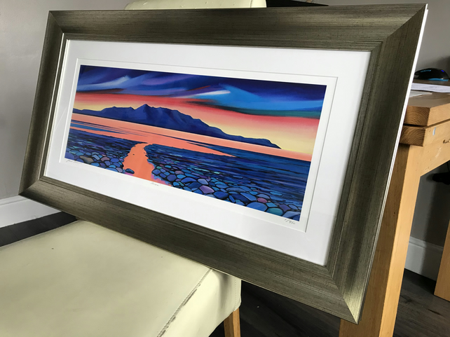 Framed Arran Red Sky ( panoramic)  Limited edition giclee print  Free PP (UK)
