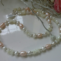 Cultured Pearls & Mother of Pearl Sterling Silver Necklace