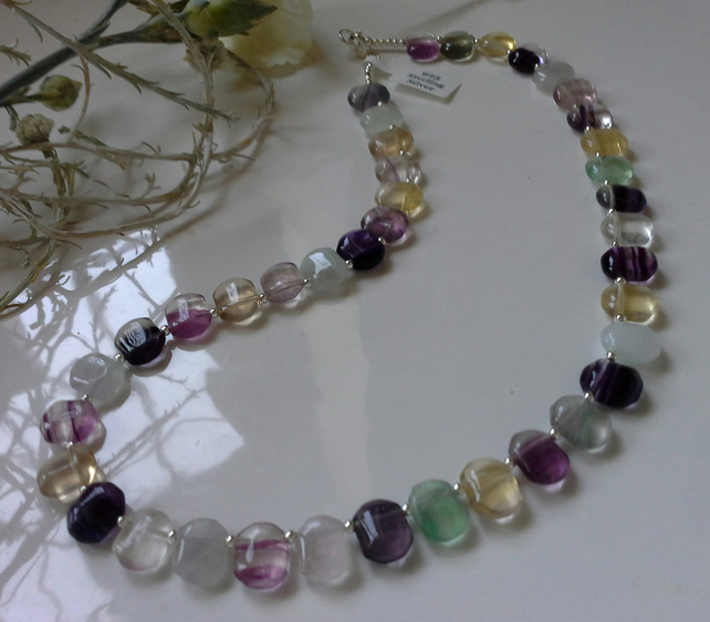 Genuine A Grade Rainbow Fluorite Sterling Silver Necklace