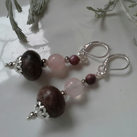 Charoite, Ruby & Rose Quartz Earrings Silver Plated
