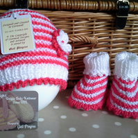 Baby Girl's Beanie Hat & Booties Gift Set  0-6 months size