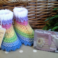 Baby Girl's Pastel Rainbow Booties  0-6 months size