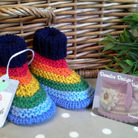 Baby Unisex Rainbow Booties  0-6 months size
