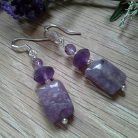 Rare Charoite & Zambian Amethyst Sterling Silver Earrings