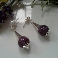 37cts Rare Russian Charoite (Rare) Stud Sterling Silver Earrings