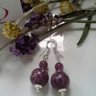 28.15 cts Russian Charoite Sterling Silver Earrings