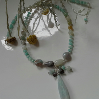 105cts Amazonite Drop Design Sterling Silver Necklace