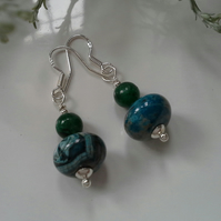 Jasper & Deep Green Apatite Sterling Silver Earrings