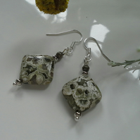 Jasper ; Pyrite Silver Plate Earrings