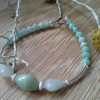Amazonite Sterling Silver Bracelet  (SMALL)