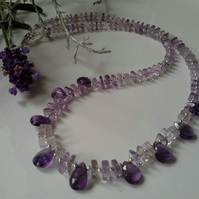 AA Grade 16.10cts Zambian Amethyst  Drops Sterling  Silver Necklace