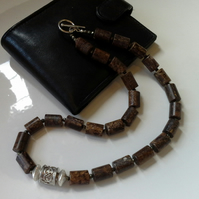 461.05cts Wood Jasper & 13.25cts Pyrite Sterling Silver Men's Necklace