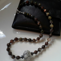 Men's Gray & Multicoloured Agate & Heamotite Sterling Silver Necklace