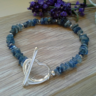 Extremely Rare Kyanite Nugget Silver Plated Bracelet
