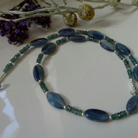 20.05ct Teal Green & 51, 64ct Corn Flower Blue Kyanite Sterling Silver Necklace