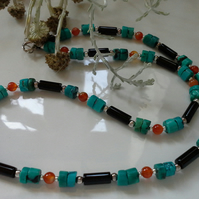 Black Onyx,  Turquoise & Carnelian Sterling Silver Necklace