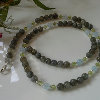 Labradorite,  Peridot & Aquamarine Sterling Silver necklace