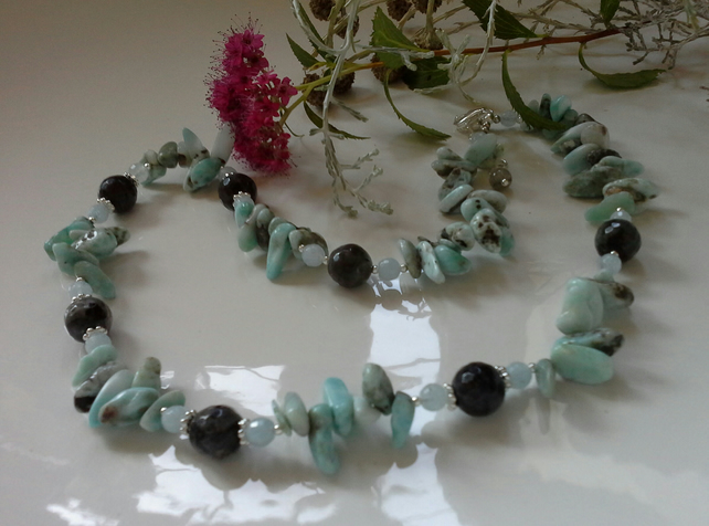 246.25ct Larimar,  Aquamarine & Labradorite Sterling Silver Necklace