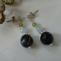 Labradorite,  Aquamarine & Peridot Stud Sterling Silver Earrings
