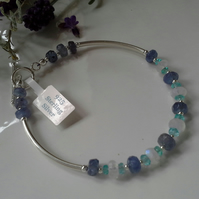 15.05ct AA Grade Tanzanite, Apatite & Moonstone Sterling Silver Bangle