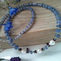 176 cts A Grade Tanzanite Steeling Silver Necklace