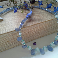 69.65ct AA Grade (Bead) Tanzanite, Moonstone & Apatite Sterling Silver Necklace