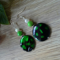 Mother of Pearl & Magnasite  Silver Plated Earrings