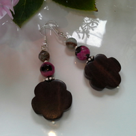 Faceted Agate & Wood Silver Plated Earrings