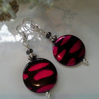 Mother of Pearl & Haematite Silver Plated Earrings