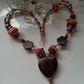Tribal Style Wooden Heart, Howlite, Jasper & Seed Bead Necklace Silver Plated