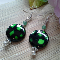 Green Aventurine & Mother of Pearl Silver Plate Earrings