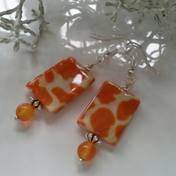 Carnelian & Mother of Pearl Silver Plated Earrings