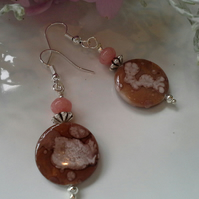 Mother of Pearl & Pink Jasper Silver Plated Earrings
