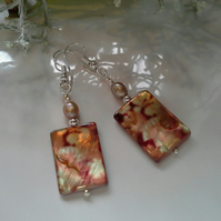 Freshwater Pearl & Mother of Pearl Silver Plated Earrings
