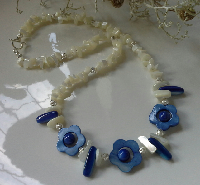 Natural & Dyed Mother of Pearl Necklace Silver Plated