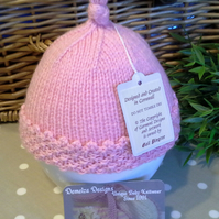 Baby Girl's Pink Winter Pixie Hat 0-6 months size