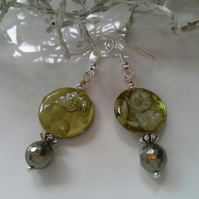 Mother of Pearl & Shell Pearl Silver Plated Earrings