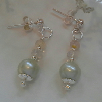 Dainty Freshwater Pearls & Ethopian Wello Opal Sterling Silver Earrings