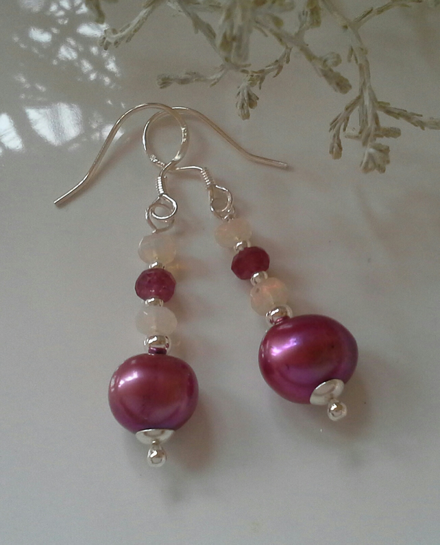 Freshwater Pearls,  Ruby & Ethopian Wello Opal Sterling Silver Earrings
