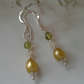 Dainty Freshwater Pearl, Ethopian Wello Opal & Peridot Sterling Silver Earrings